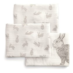 Welcome To The World Pack of 3 large muslin squares, 90 x 90cm