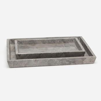 Veneto Pair of trays, gray polished marble