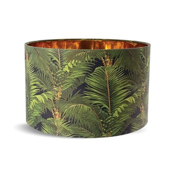 Jardin Tropical Small drum lampshade with metallic gold lining, H22 x L35 x W35cm, green