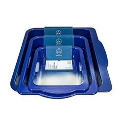 Enamel Set of 3 roasting trays, navy blue
