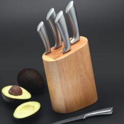5 piece knife set with wooden block