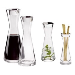 Tavola Decanter, H28.5cm - 0.75 litre, crystal and sterling silver