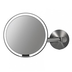 Hard wired wall sensor mirror, H23 x W35cm, brushed stainless steel