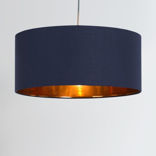 Hue Pendant shade, H20 x W45 x D45cm, Navy & Copper