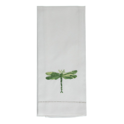 Dragonfly Hand towel, 38 x 58cm, Shaded Green Cotton