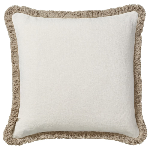 Cushion cover with fringing, L51 x W51cm, Off White Stonewashed Linen