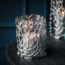 Coral Hurricane lantern - small, 23 x 16cm, Aluminium And Glass