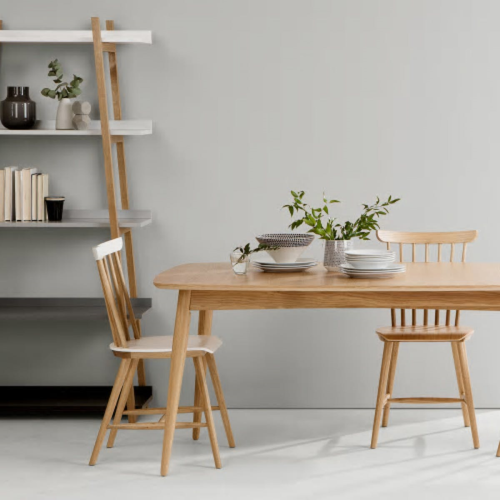 Deauville Set of 2 dining chairs, H84 x W46.5 x D56.5cm, Oak
