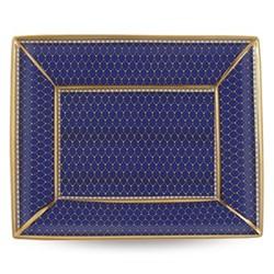 Antler Trellis Trinket tray, 20 x 15.5cm, midnight blue and gold