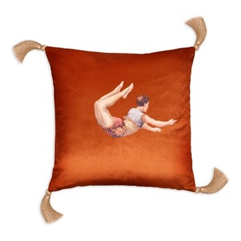 Trapeze Boy Velvet cushion, 45cm, Burnt orange