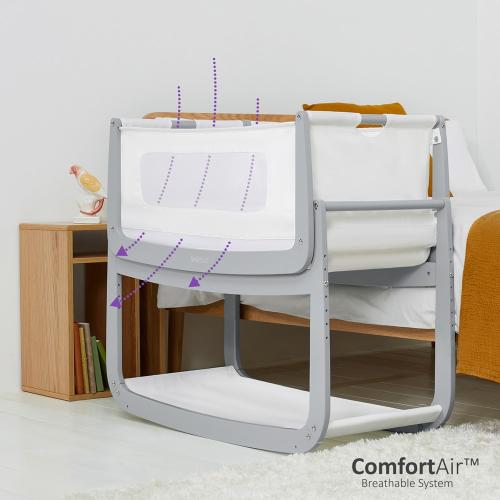 SnuzPod Bedside Crib, H49 x W95cm, Dove