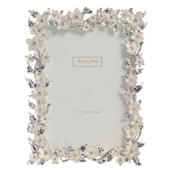 """Silver Leaf and Cream Flower Photograph frame, 5 x 7"""", white enamel with silver plate"""