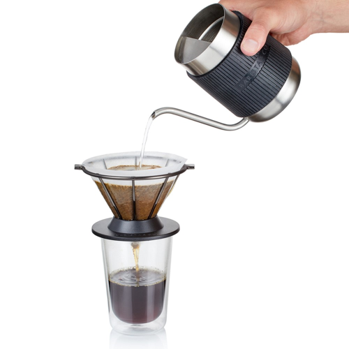 Shorty Compact Pour over coffee jug, 600ml, Brushed Stainless Steel