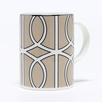 Loop Mug, 10.2 x 7.6cm, truffle/white (silver rim)
