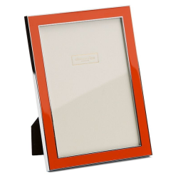 """Enamel Range Photograph frame, 4 x 6"""" with 15mm border, orange with silver plate"""