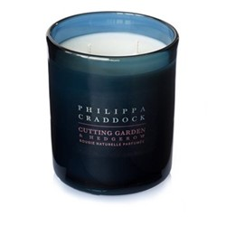 Cutting Garden & Hedgerow 2 wick candle, H10 x W9cm, blue