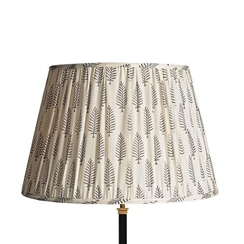 Straight Empire Block printed lampshade, 40cm, grey ferns cotton