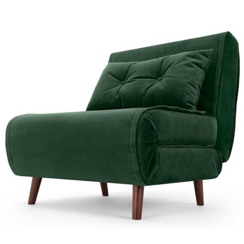 Haru Single sofa bed, H78 x W77 x D86cm, Pine Green Velvet