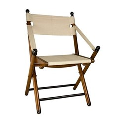 Campaign Folding Chair, H85.5 x W55.5 x L55cm, honey distressed pine