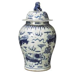 Shenlong Lidded jar, Blue