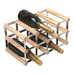 12 bottle wine rack, H24 x W43 x D23cm, natural/galvanised steel