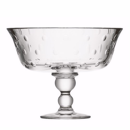 Bubbles Large footed bowl, clear