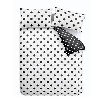 Polka Dot Easy Care King size duvet set, 220 x 230cm, black/white