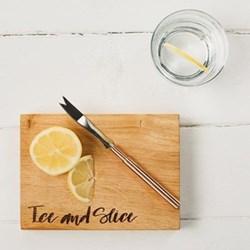 """Ice & Slice"" Chopping board, 19 x 14cm, engraved oak"