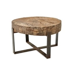 Chakala Coffee table, D41 x 60-70cm, reclaimed wood & iron