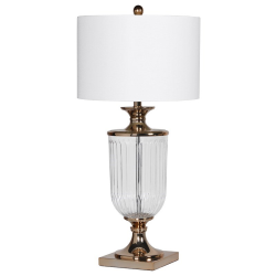 Glass urn table lamp with shade, 81 x 39cm