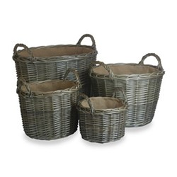 Set of 4 round lined log Baskets D51 x H41cm