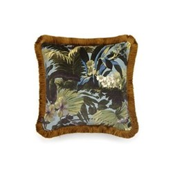 Limerence Medium fringed velvet cushion, 45 x 45cm, blue