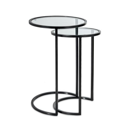 Nakuru Pair of side tables, Iron & Glass