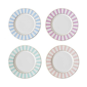 Stripy Set of 4 tea plates, Dia19cm, pastels