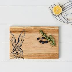 Hare Serving board, 30 x 20 x 2.5cm, engraved illustration