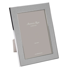 """Faux Shagreen Photograph frame, 5 x 7"""" with 24mm border, Grey With Silver Plate"""