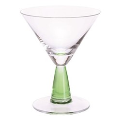 Gin Connoisseur Pair of martini glasses, H14cm - 18.5cl, clear/green