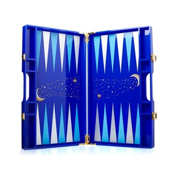 Luna Backgammon, 35.3 x 21.4 x 4.7cm, navy/light blue/gold/silver