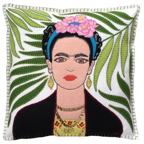 Frieda Kahlo Cushion, 46 x 46cm, Black