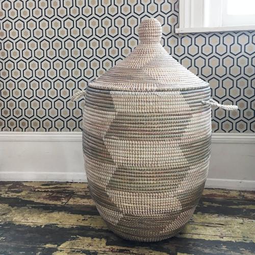 Alibaba Laundry basket, 80 x 43cm, Natural/Grey