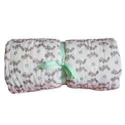 Bunnies Cot quilt, 100 x 140cm, Green Cotton