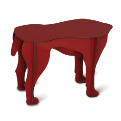 Sultan Dog stool/side table, H34 x L52 x W25cm, Red