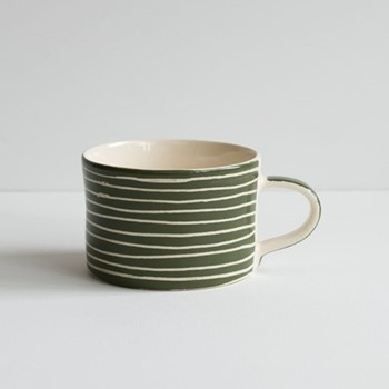 Sgrafitto Stripe Set of 6 mugs, H7 x W10.5cm, moss green