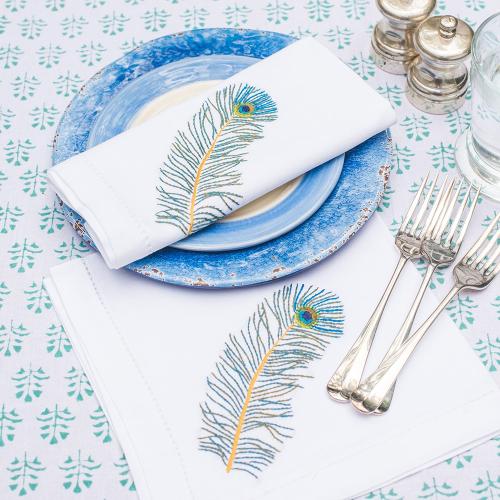 Peacock Feather Set of 4 napkins, 45 x 45cm, Cotton