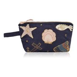 Kenya Collection - Seashell Mini pouch, 16 x 10cm, navy