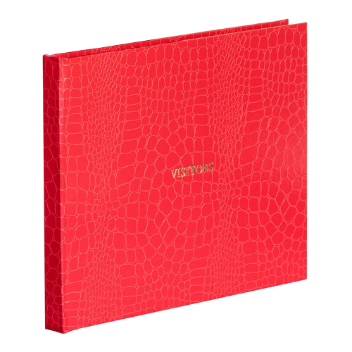 Oyster Bay Large lined visitors book, L22 x W28.5cm, Red Croc Print