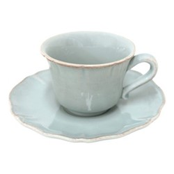 Alentejo Set of 6 teacups and saucers, 22cl, turquoise