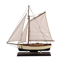 1930s Classic Yacht Yacht model, H60 x W13 x L54.5cm, ivory/black basswood/cotton