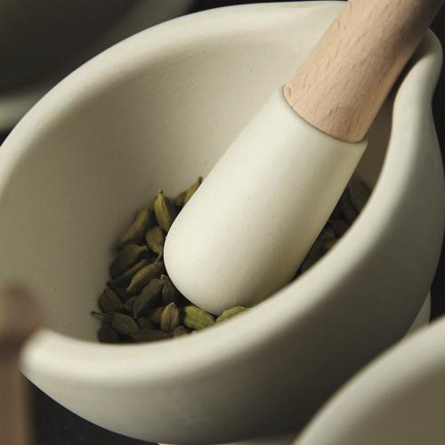 Small pestle & mortar, Ceramic/Beech Wood