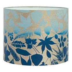 Falling Leaves Drum lampshade, W31 x H24cm, pebble/midnight ombre